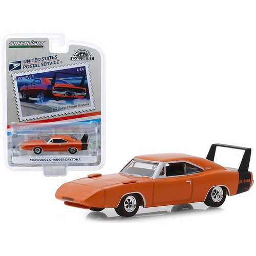 """1969 Dodge Charger Daytona Orange """"USPS Stamps"""" (2013) (United States Postal Service) """"America on the Move: Muscle Cars"""" """"Hobby Exclusive"""" 1/64 Diecast Model Car by Greenlight"""