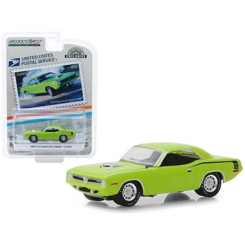 """1970 Plymouth HEMI 'Cuda Lime Green """"USPS Stamps"""" (2013) (United States Postal Service) """"America on the Move: Muscle Cars"""" """"Hobby Exclusive"""" 1/64 Diecast Model Car by Greenlight"""