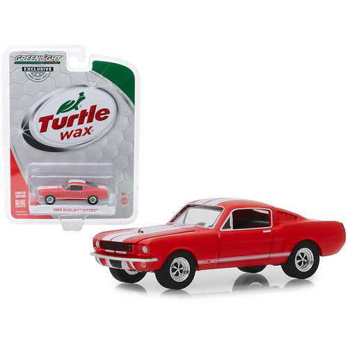 "1965 Shelby GT350 Orange with White Stripes ""Turtle Wax Ad Cars"" ""Wax Before You Ride"" ""Hobby Exclusive"" 1/64 Diecast Model Car by Greenlight"