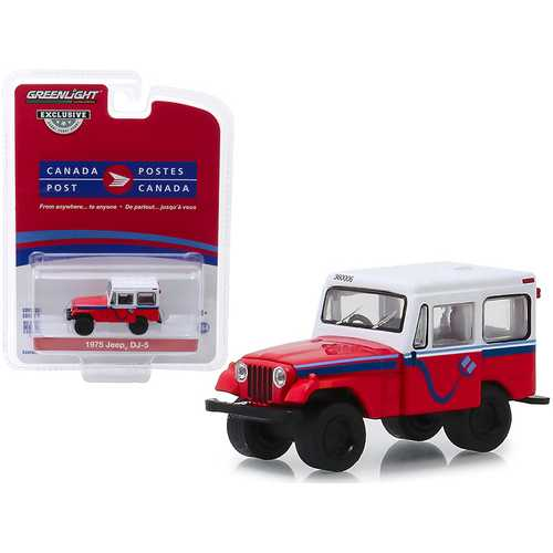 "1975 Jeep DJ-5 ""Canada Post"" Red with White Top ""Hobby Exclusive"" 1/64 Diecast Model Car by Greenlight"