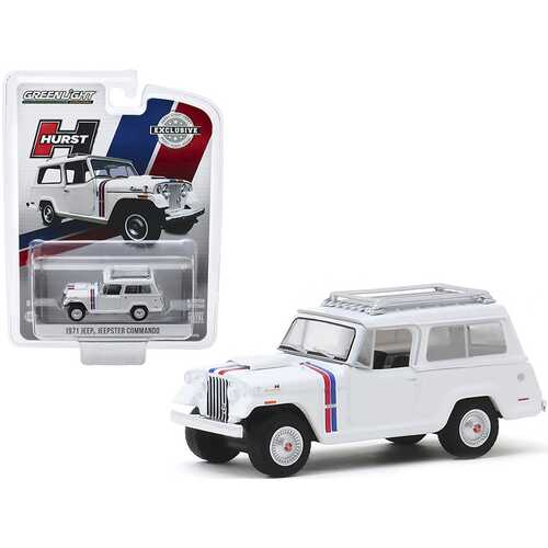 "1971 Jeep Jeepster Commando with Roof Rack White with Stripes ""Hurst Edition"" ""Hobby Exclusive"" 1/64 Diecast Model Car by Greenlight"