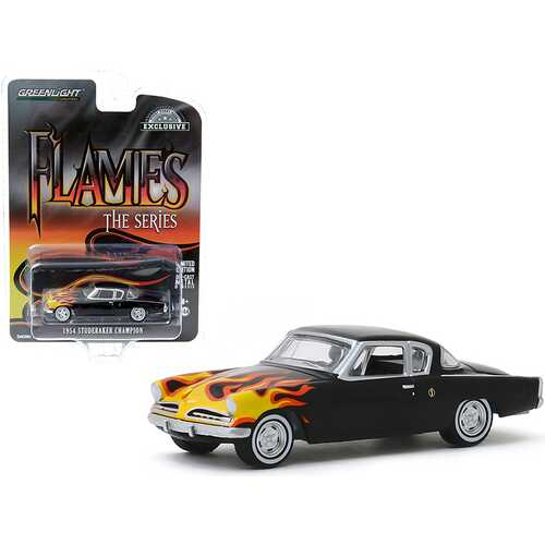 "1954 Studebaker Champion Black with Flames ""Flames The Series"" ""Hobby Exclusive"" 1/64 Diecast Model Car by Greenlight"