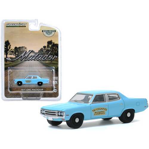 "1971 AMC Matador Bright Blue ""Tri-Counties Bonding Company"" ""Hobby Exclusive"" 1/64 Diecast Model Car by Greenlight"