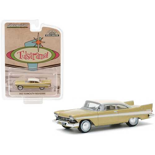 "1957 Plymouth Belvedere Desert Gold with Sand Dune White Top Tulsa (Oklahoma) ""Tulsarama"" Underground Vault (1957) ""Hobby Exclusive"" 1/64 Diecast Model Car by Greenlight"