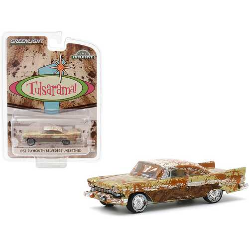 "1957 Plymouth Belvedere (Unearthed) Desert Gold with Sand Dune White Top Tulsa (Oklahoma) ""Tulsarama"" Underground Vault (2007) ""Hobby Exclusive"" 1/64 Diecast Model Car by Greenlight"