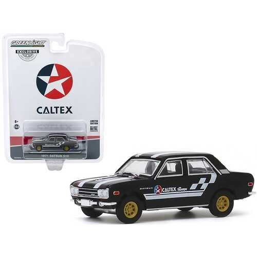 "1971 Datsun 510 4-Door Sedan ""Caltex with Techron"" Black with Stripes ""Hobby Exclusive"" 1/64 Diecast Model Car by Greenlight"