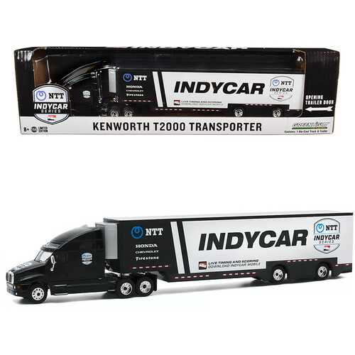 """Kenworth T2000 """"2020 NTT IndyCar Series"""" Team Transporter Black and White """"Hobby Exclusive"""" 1/64 Diecast Model by Greenlight"""