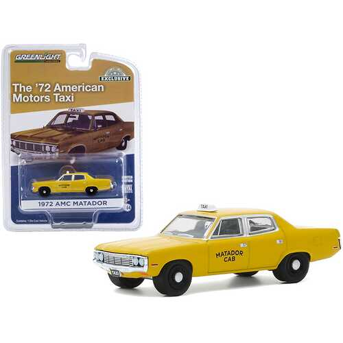 "1972 AMC Matador Yellow ""Matador Cab"" Taxicab ""Hobby Exclusive"" 1/64 Diecast Model Car by Greenlight"