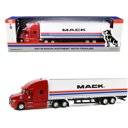 "2018 Mack Anthem 18 Wheeler Tractor-Trailer ""#1 The Mack Performance Tour 2018"" Red and White with Stripes 1/64 Diecast Model by Greenlight"