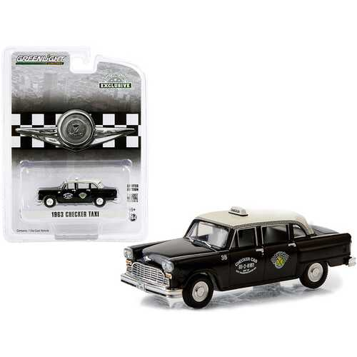 "1963 Checker Taxi Black with Cream Top ""Checker Cab"" Dallas (Texas) ""Hobby Exclusive"" 1/64 Diecast Model Car by Greenlight"