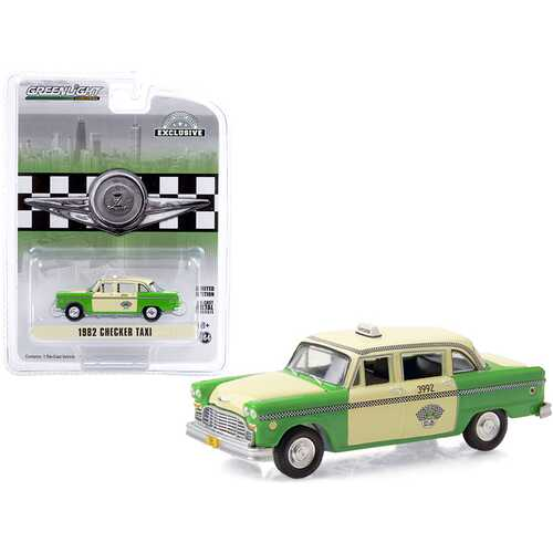 "1982 Checker Taxi Green and Yellow ""Checker Taxi Affl Inc."" Chicago (Illinois) ""Hobby Exclusive"" 1/64 Diecast Model Car by Greenlight"