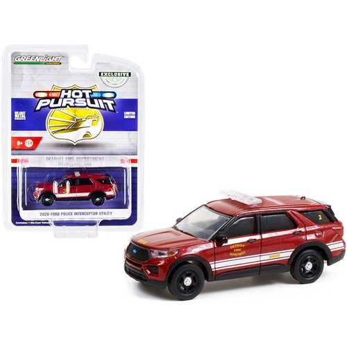 """2020 Ford Police Interceptor Utility Red Metallic with White Stripes """"Detroit Fire Department"""" """"Hot Pursuit"""" Series 1/64 Diecast Model Car by Greenlight"""