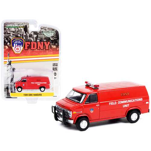 """1989 GMC Vandura Van Red """"Fire Department City of New York"""" (FDNY) Field Communications Unit """"Hobby Exclusive"""" 1/64 Diecast Model Car by Greenlight"""