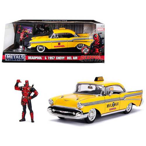 "1957 Chevrolet Bel Air Taxi Yellow with Deadpool Diecast Figure ""Marvel"" Series 1/24 Diecast Model Car by Jada"