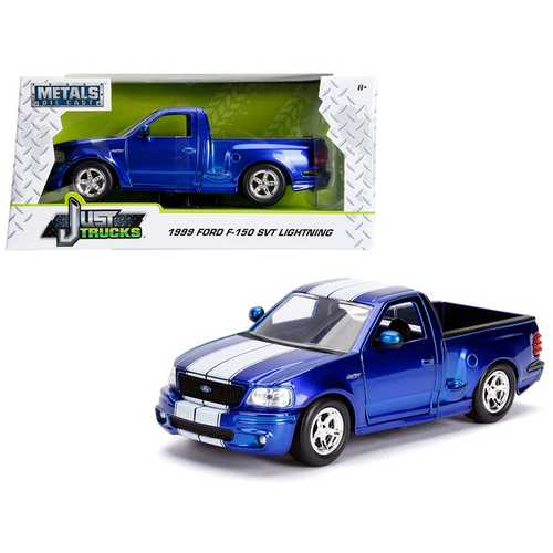 """1999 Ford F-150 SVT Lightning Pickup Truck Candy Blue  with White Stripes """"Just Trucks"""" Series 1/24 Diecast Model Car by Jada"""