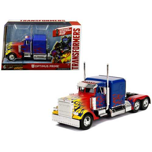 "Optimus Prime Truck with Robot on Chassis from ""Transformers"" Movie ""Hollywood Rides"" Series  Diecast Model by Jada"
