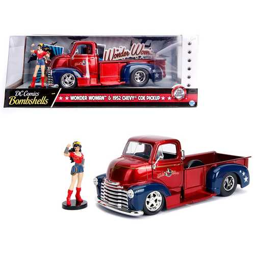 "1952 Chevrolet COE Pickup Truck Red and Blue with Wonder Woman Diecast Figure ""DC Comics Bombshells"" Series 1/24 Diecast Model Car by Jada"