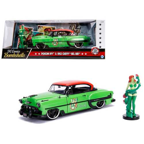 "1953 Chevrolet Bel Air Green and Red Top with Poison Ivy Diecast Figure ""DC Comics Bombshells"" Series 1/24 Diecast Model Car by Jada"