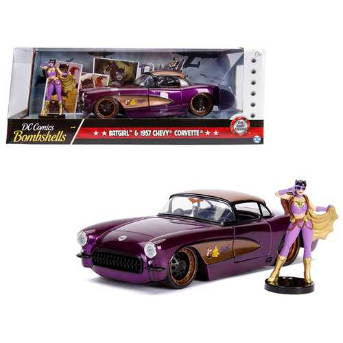 "1957 Chevrolet Corvette Purple with Batgirl Diecast Figure ""DC Comics Bombshells"" Series 1/24 Diecast Model Car by Jada"