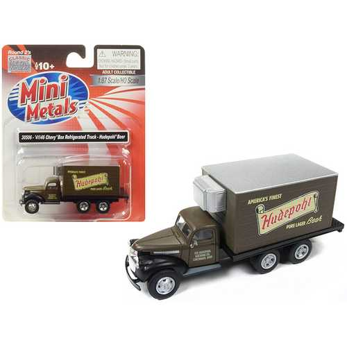 "1941-1946 Chevrolet Box (Reefer) Refrigerated Truck ""Hudepohl Beer"" Brown 1/87 (HO) Scale Model by Classic Metal Works"