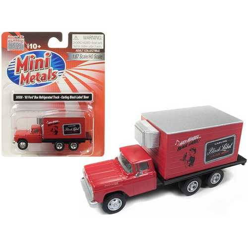"1960 Ford Box (Reefer) Refrigerated Truck ""Carling Black Label Beer"" Red 1/87 (HO) Scale Model by Classic Metal Works"