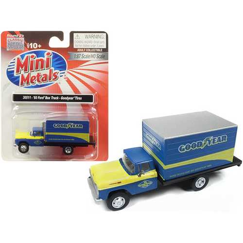 "1960 Ford Box Truck ""Goodyear"" Blue 1/87 (HO) Scale Model by Classic Metal Works"