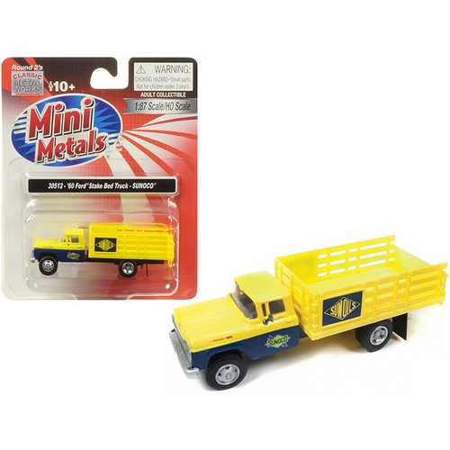 "1960 Ford Stake Bed Truck ""Sunoco"" Yellow and Blue 1/87 (HO) Scale Model by Classic Metal Works"
