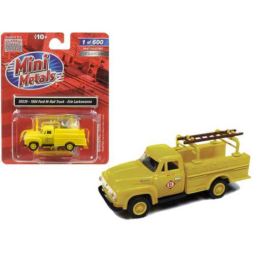 """1954 Ford Hi-Rail Truck """"Erie Lackawanna"""" Yellow with Accessories 1/87 (HO) Scale Model by Classic Metal Works"""