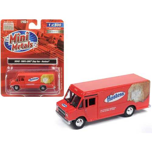 "1990 GMC Delivery Step Van ""Hostess"" Red 1/87 (HO) Scale Model by Classic Metal Works"