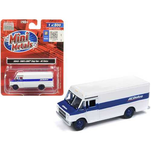 "1990 GMC Step Van ""ACDelco"" White with Blue Stripe 1/87 (HO) Scale Model by Classic Metal Works"