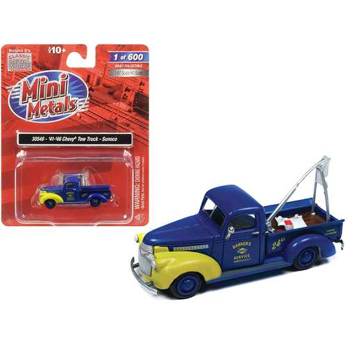 """1941-1946 Chevrolet Tow Truck """"Sunoco"""" Blue 1/87 (HO) Scale Model Car by Classic Metal Works"""