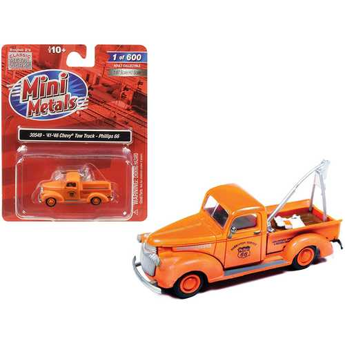 """1941-1946 Chevrolet Tow Truck """"Phillips 66"""" Orange 1/87 (HO) Scale Model Car by Classic Metal Works"""