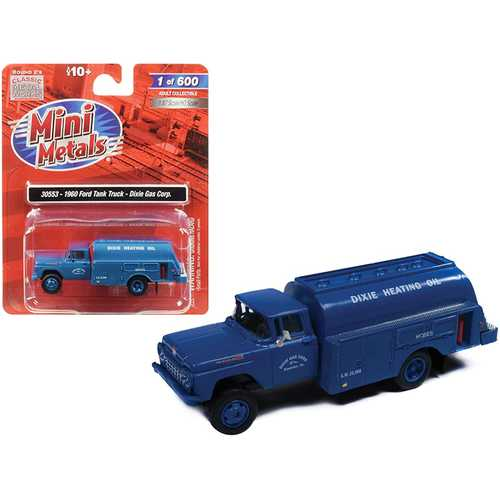 "1960 Ford Tank Truck ""Dixie Gas Corp."" Blue 1/87 (HO) Scale Model by Classic Metal Works"