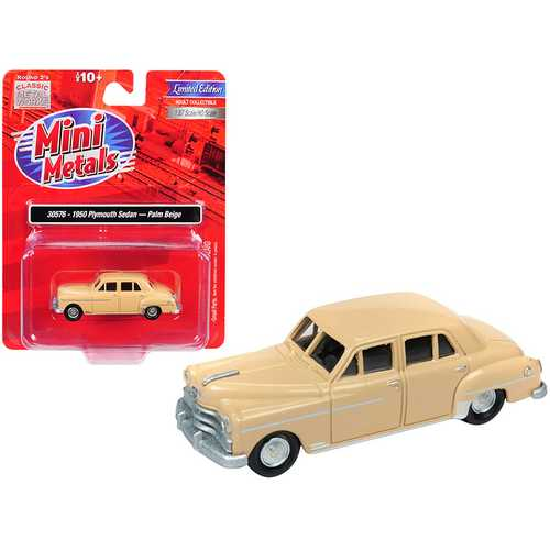 1950 Plymouth Sedan Palm Beige 1/87 (HO) Scale Model Car by Classic Metal Works
