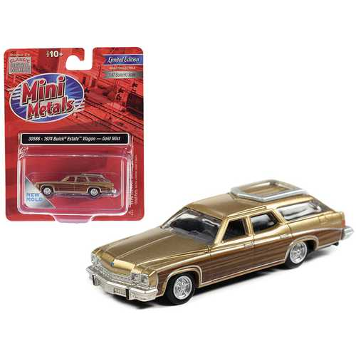 1974 Buick Estate Wagon Gold Mist Metallic with Woodgrain Sides 1/87 (HO) Scale Model Car by Classic Metal Works