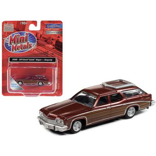1974 Buick Estate Wagon Burgundy Metallic with Woodgrain Sides 1/87 (HO) Scale Model Car by Classic Metal Works