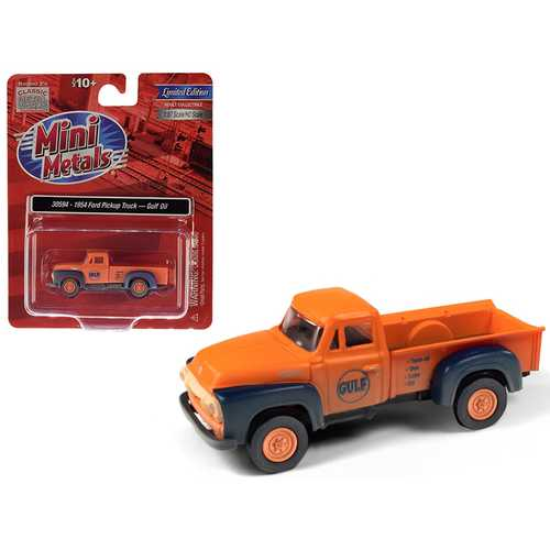 """1954 Ford Pickup Truck """"Gulf Oil"""" Orange (Dirty/Weathered) 1/87 (HO) Scale Model Car by Classic Metal Works"""