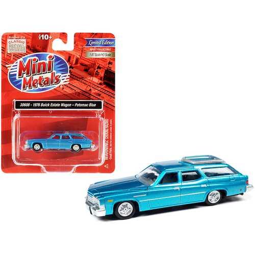 1976 Buick Estate Wagon Potomac Blue Metallic 1/87 (HO) Scale Model Car by Classic Metal Works