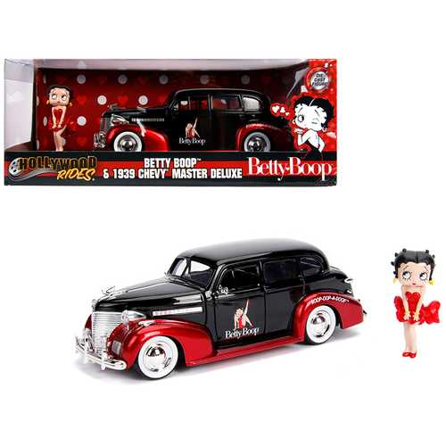 "1939 Chevrolet Master Deluxe Black with Betty Boop Diecast Figure ""Hollywood Rides"" Series 1/24 Diecast Model Car by Jada"