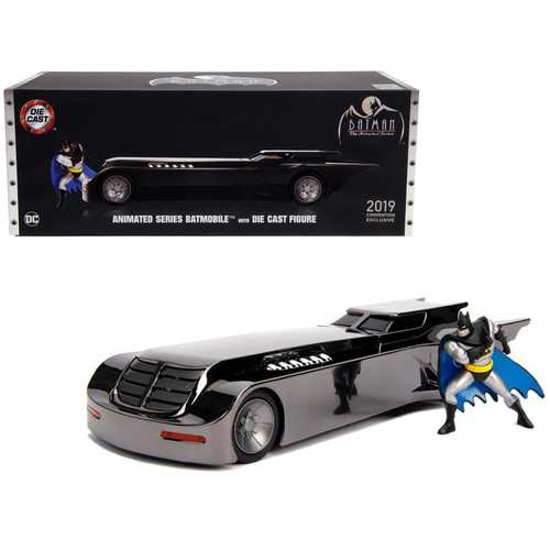 "Chrome Batmobile with Batman Diecast Figurine ""Animated Series"" DC Comics ""2019 San Diego Comic Con Exclusive"" Limited Edition 1/24 Diecast Model Car by Jada"