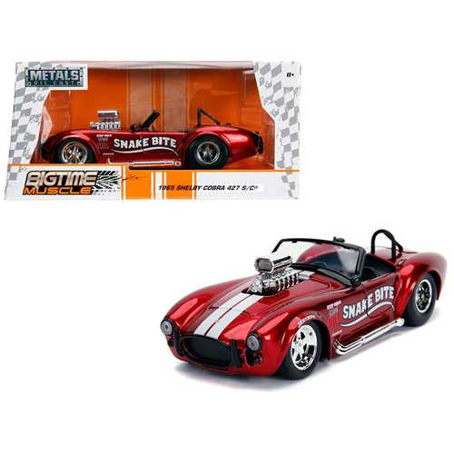 "1965 Shelby Cobra 427 S/C Candy Red with White Stripes ""Snake Bite"" ""Bigtime Muscle"" Series 1/24 Diecast Model Car by Jada"