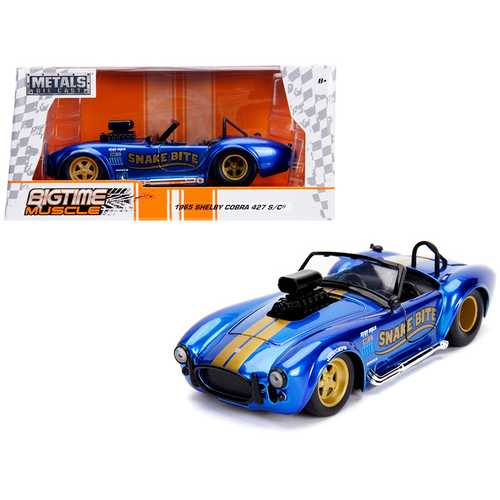 "1965 Shelby Cobra 427 S/C Candy Blue with Gold Stripes ""Snake Bite"" ""Bigtime Muscle"" Series 1/24 Diecast Model Car by Jada"