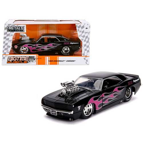 "1969 Chevrolet Camaro with Blower Black and Pink Flames ""Bigtime Muscle"" Series 1/24 Diecast Model Car by Jada"
