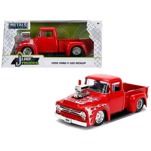 "1956 Ford F-100 Pickup Truck with Blower Glossy Red with Flames ""Just Trucks"" Series 1/24 Diecast Model Car by Jada"