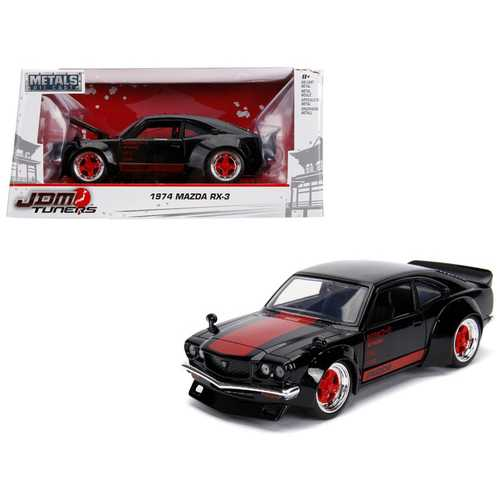 "1974 Mazda RX-3 Black with Red Stripe ""JDM Tuners"" 1/24 Diecast Model Car by Jada"