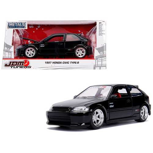 "1997 Honda Civic Type R Glossy Black with Carbon Hood ""JDM Tuners"" 1/24 Diecast Model Car by Jada"