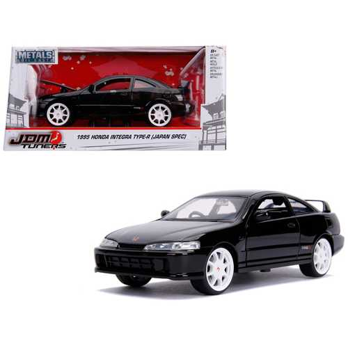 "1995 Honda Integra Type-R ""Japan Spec"" RHD (Right Hand Drive) Glossy Black with Carbon Hood and White Wheels ""JDM Tuners"" 1/24 Diecast Model Car by Jada"