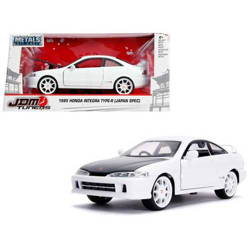 "1995 Honda Integra Type-R ""Japan Spec"" RHD (Right Hand Drive) Glossy White with Carbon Hood and White Wheels ""JDM Tuners"" 1/24 Diecast Model Car by Jada"