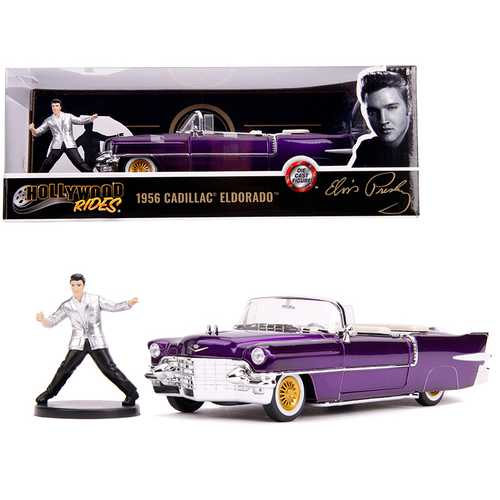 1956 Cadillac Eldorado Convertible Purple with Elvis Presley Diecast Figurine 1/24 Diecast Model Car by Jada
