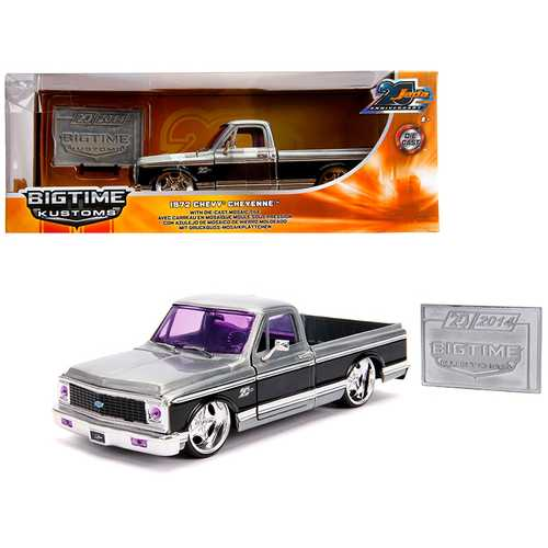 "1972 Chevrolet Cheyenne Pickup Truck Raw Metal with Black Stripe ""Kustom Kings"" ""Jada 20th Anniversary"" 1/24 Diecast Model Car by Jada"